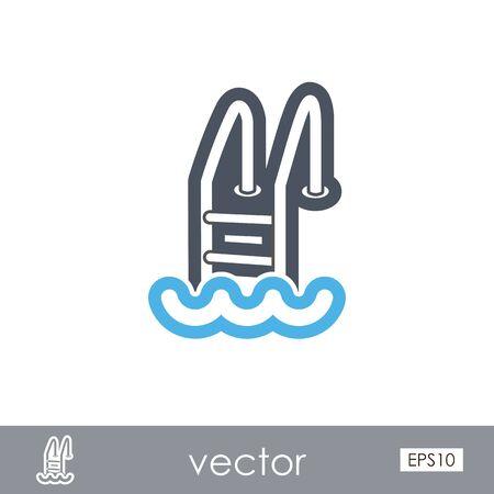 Swimming pool outline vector icon. Beach. Summer. Summertime. Illustration