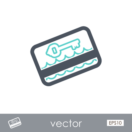 keycard: Electronic keycard outline vector icon. Key card. Travel. Summer. Summertime. Holiday. Vacation, eps 10