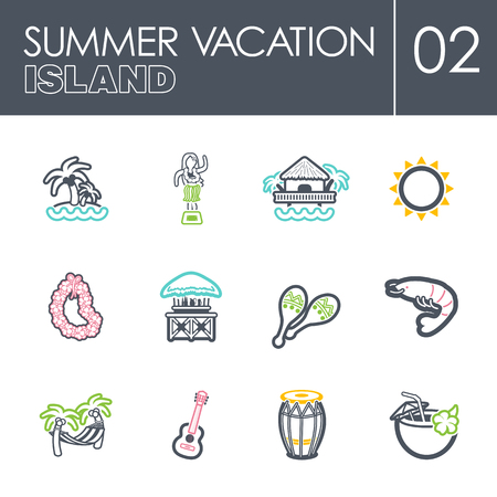 Island beach outline vector icon set. Summer time. Vacation, eps 10 Vektoros illusztráció