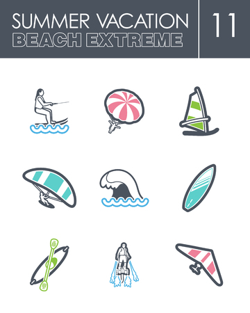 kite surf: Extreme Water Sport beach outline vector icon set. Summer time. Vacation, eps 10