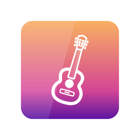 Guitar Beach outline vector icon. Beach. Summer. Summertime. Vacation, eps 10 Illustration
