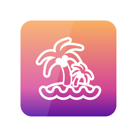eps vector icon: Island with palm trees outline vector icon. Beach. Summer. Summertime. Vacation, eps 10