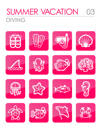 Diving outline vector icon set. Summer time. Vacation, eps 10