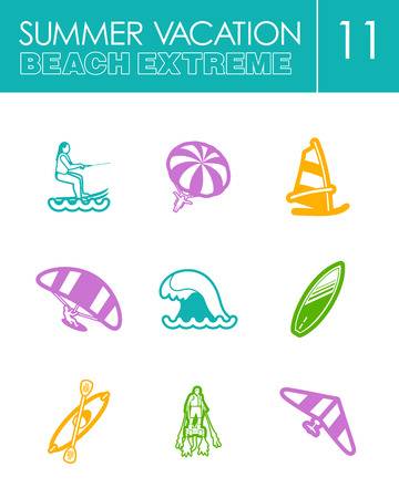 kite surf: Extreme Water Sport beach outline vector icon set. Summer time. Vacation vector illustration.