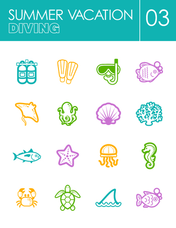 deep sea diver: Diving outline vector icon set. Summer time. Vacation, eps 10