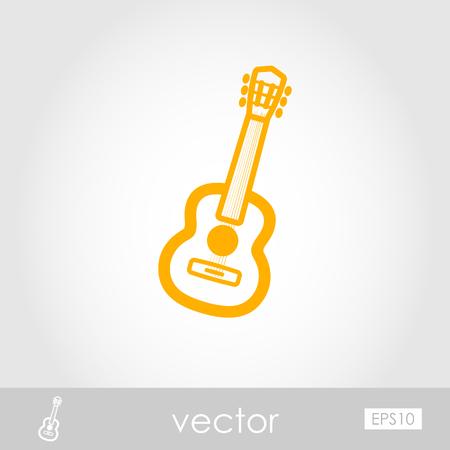 Guitar Beach outline vector icon. Beach. Summer. Summertime. Vacation