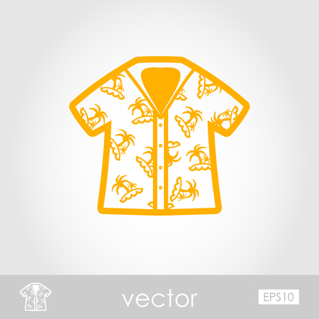 Hawaiian Shirt with palm tree outline vector icon. Beach. Summer. Summertime. Holiday. Vacation, eps 10
