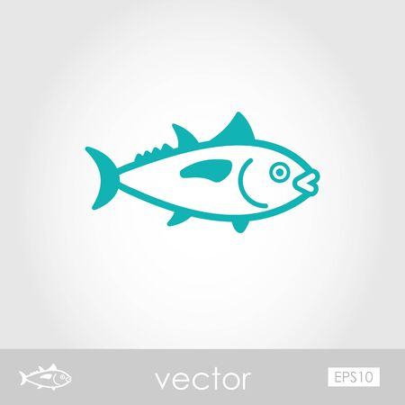 Tuna outline vector icon. Fishing. Summer. Summertime. Holiday. Vacation Illustration