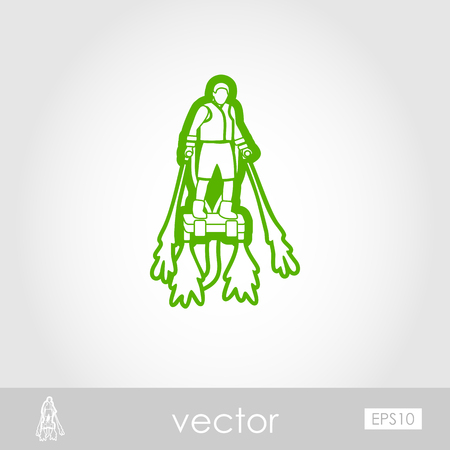 FlyBoard FlySurf outline vector icon. Beach. Summer. Summertime. Holiday. Vacation, ride, water sport, eps 10