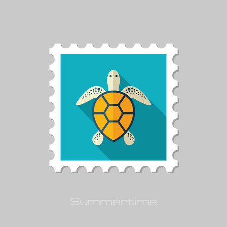 Sea turtle vector stamp.