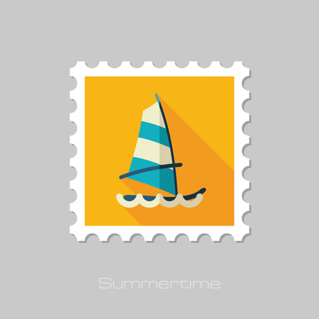 sailboard: Board Windsurfing vector stamp. Beach. Summer. Summertime. Holiday. Vacation, eps 10