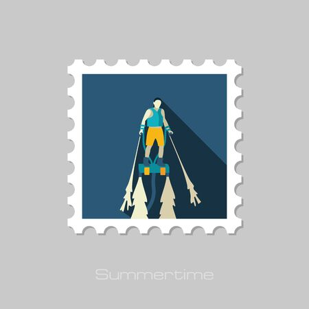 FlyBoard FlySurf vector stamp. Beach. Summer. Summertime. Holiday. Vacation, ride, water sport, eps 10