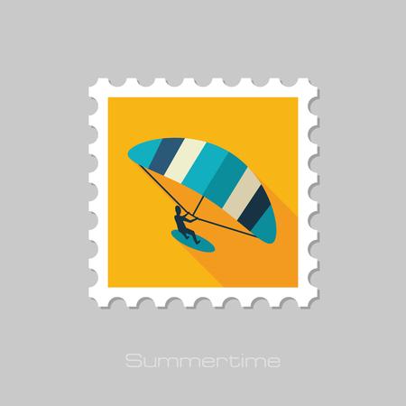 Kite boarding. Kitesurfing vector stamp. Beach. Summer. Summertime. Holiday. Vacation, eps 10