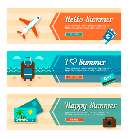 keycard: Travel and vacation vector banners. Summertime. Holiday. Illustration