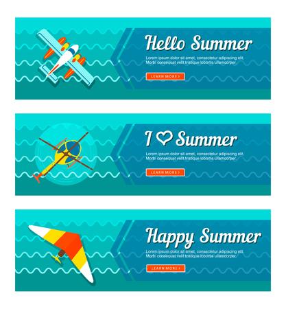 Bannières vectorielles de voyage et de vacances. Heure d'été. Vacances Banque d'images - 81127858