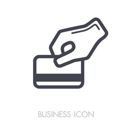 Hand swipe credit card during purchase outline icon. Business sign. Graph symbol for your web site design, logo, app, UI. Vector illustration, EPS10.