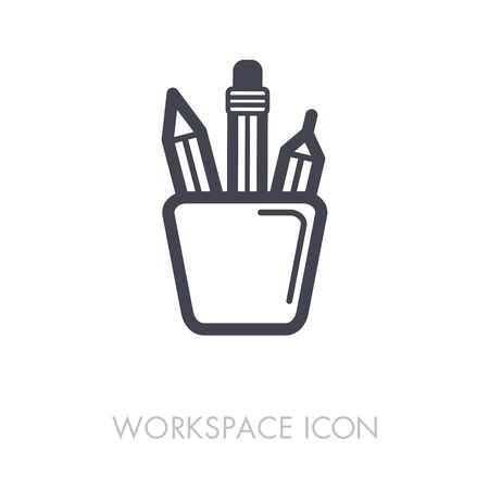 Pencil stand outline icon.