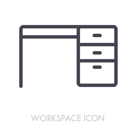 Desk outline icon. Illustration