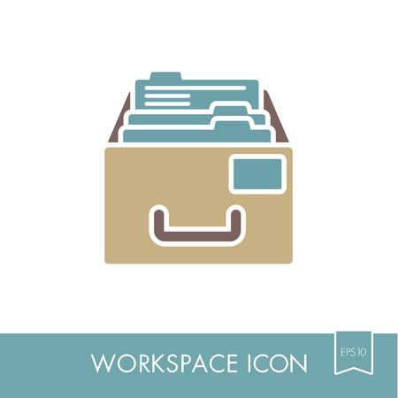 Icône de contour du Cabinet de dépôt. Vecteurs