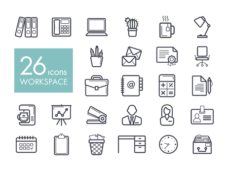 Set of workspace outline icon.