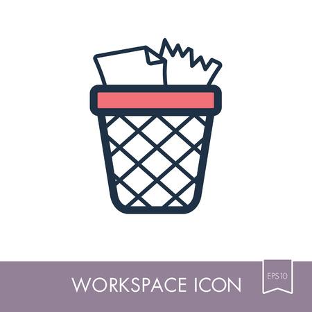 Wastebasket outline icon. Illustration