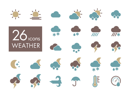 Set of weather forecast icon vector illustration