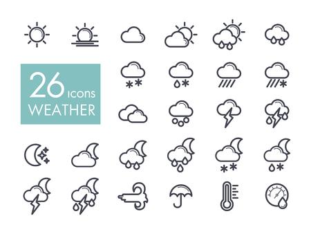 rainy season: Set of weather forecast in black and white vector illustration