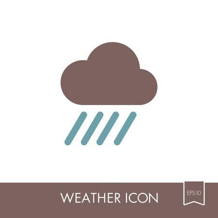 Rain Cloud outline icon. Downpour, rainfall. Weather. Vector illustration eps 10
