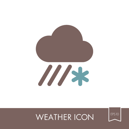 Cloud with Snow and Rain outline icon. Meteorology. Weather. Vector illustration eps 10 Illustration