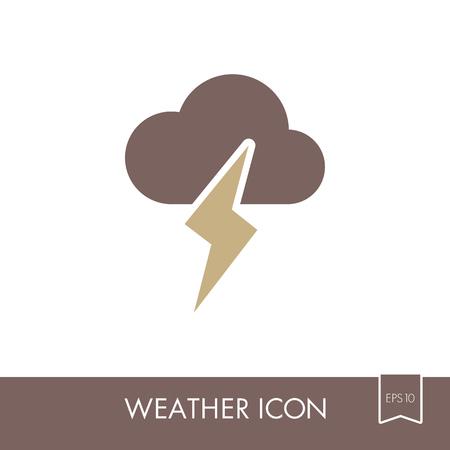 Cloud Lightning outline icon. Meteorology. Weather. Vector illustration eps 10