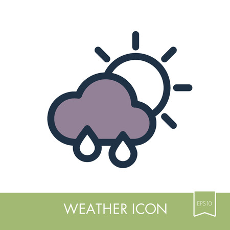 Rain Cloud Sun outline icon. Meteorology. Weather. Vector illustration