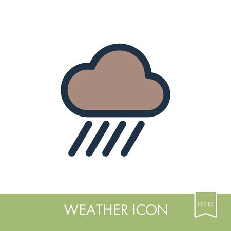 Rain Cloud outline icon. Downpour, rainfall. Weather. Vector illustration