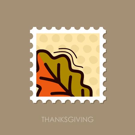 Autumn Leaves Oak stamp. Harvest. Thanksgiving vector, eps 10