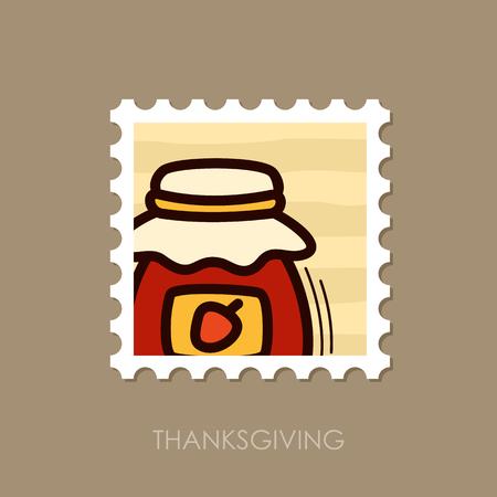 Jam jar stamp. Harvest. Thanksgiving vector illustration, eps 10