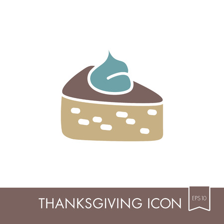 Piece of pumpkin pie served with whipped cream on the top icon. Harvest. Thanksgiving vector illustration, eps 10