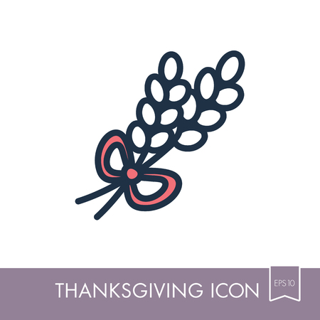 Spikelets of wheat icon. Harvest. Thanksgiving vector illustration, eps 10