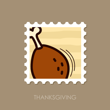 Roasted Chicken thigh stamp. Harvest. Thanksgiving vector illustration, eps 10