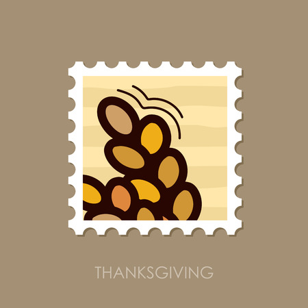 Spikelets of wheat stamp. Harvest. Thanksgiving vector illustration, eps 10