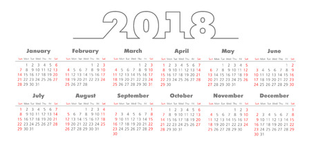 Vector Simple 2018 year calendar. Week starts from Sunday, eps 10