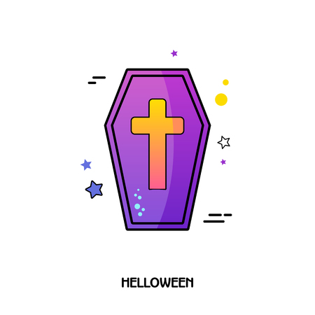 Coffin vector icon. Halloween sticker, eps 10