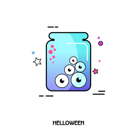 Eye glass jar vector icon. Halloween sticker, eps 10