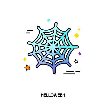 Spider web vector icon. Halloween sticker, eps 10 Illustration
