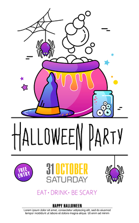 halloween party poster on white background trick or treat concept