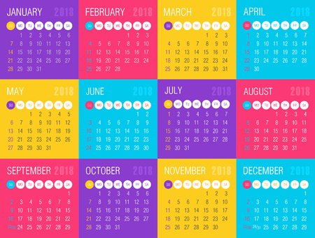 Calendar 2018 year colored squares. Week starts from Sunday, eps 10 Ilustração