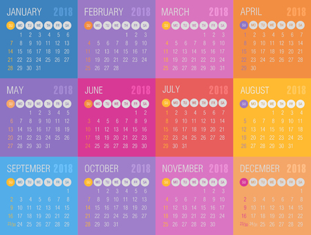 Calendar 2018 year colored squares. Week starts from Sunday, eps 10 Illustration