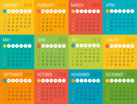 Calendar 2018 year colored squares. Week starts from Sunday, eps 10 Vettoriali