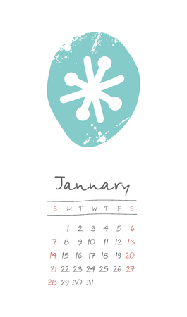 Calendar 2018 months January. Week starts from Sunday. Hand drawn with snowflake, eps 10