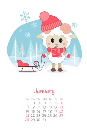 Calendar 2018 months January with sheep. Week starts from Sunday. Hand drawn with snowflake, eps 10 Illustration
