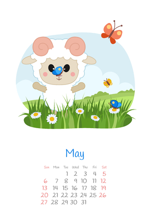 Calendar 2018 months May with sheep. Week starts from Sunday. Hand drawn with tulips, eps 10 Illustration