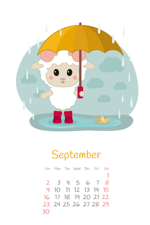 Calendar 2018 months September with sheep. Week starts from Sunday. Hand drawn with autumn rain, eps 10. Illustration